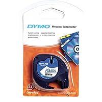 Ruban Dymo pour Etiqueteuses LetraTag, Plastique, 12mm x 4m, Noir sur Fond Blanc