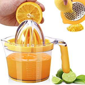 Hsonline 4-in-1 Citrus Orange Lemon Juicer Manual Hand Press Lime Squeezer Fruit Juicer with Cheese Grater Stainless Steel, Built-in Measuring Cup, Egg Separator and Anti-Slip Silicone Handle, 20OZ