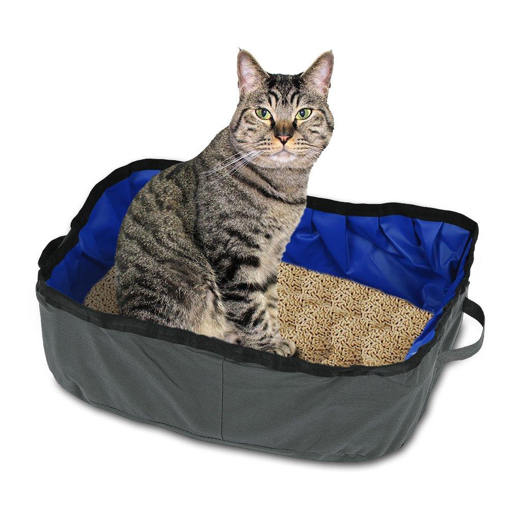 Petacc Foldable Cat Litter Box Portable Travel Pet Litter Pan Outdoor Cat Box Grey