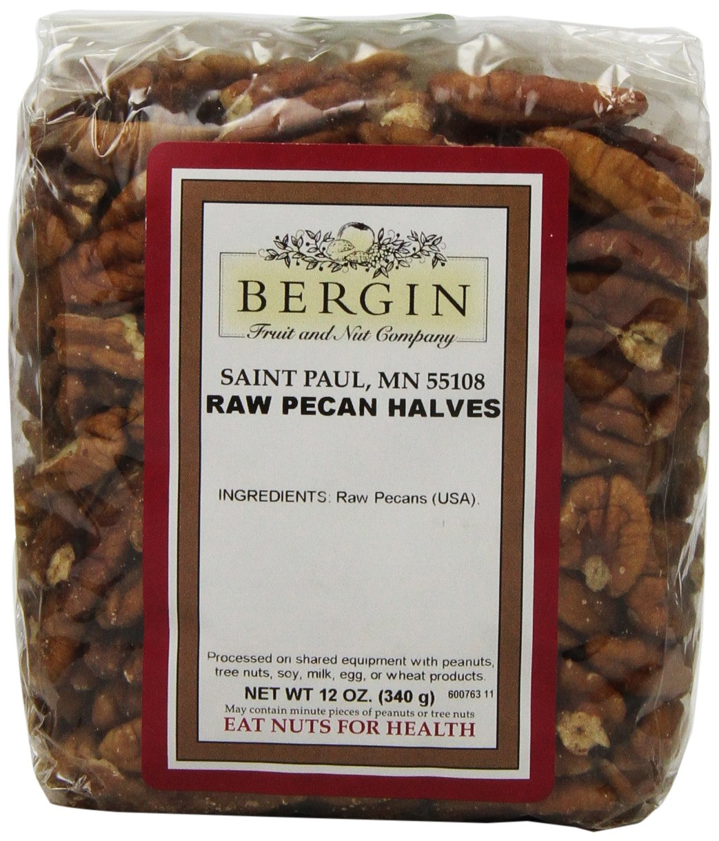 Bergin Nut Company Pecan Halves Raw, 12-Ounce Bags (Pack of 2)