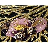 1個の手作りチェコガラスのボタンで金孔雀紫のバレンタインピンクのサイズが10で、22.5mm