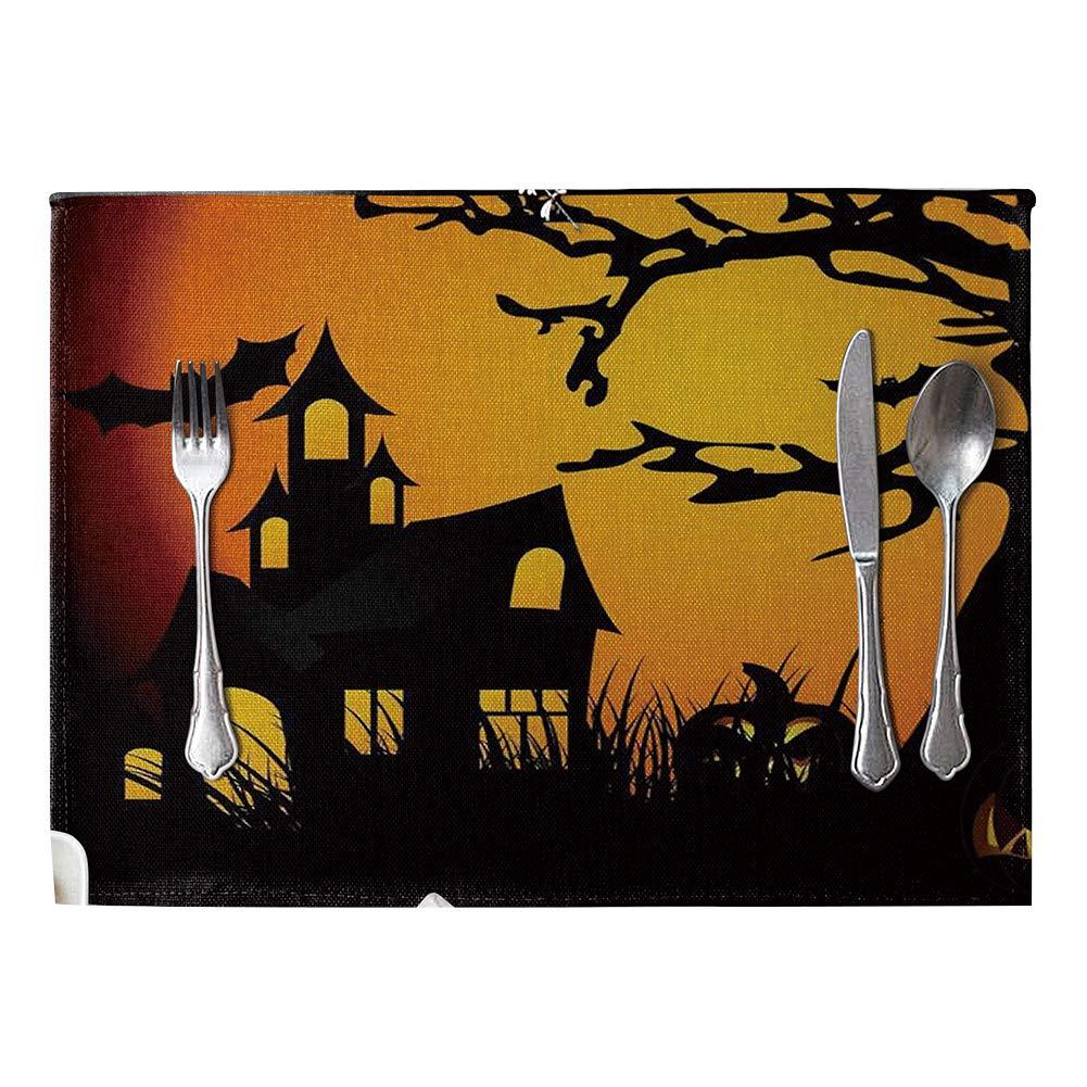 Connoworld Halloween Style Heat Insulation Mat Linen Placemat Kitchen Dining Table Decor 3#