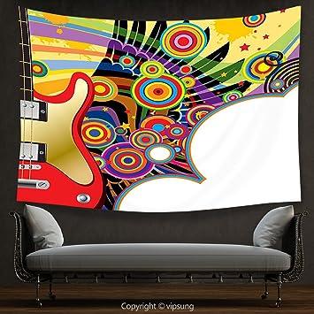 vipsung Casa Decor Tapestry música Guitarra eléctrica con espirales de círculos de Colores Rock y Roll Pop Ritmo diseño gráfico Colgar en la Pared para ...