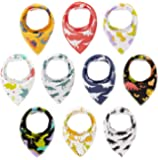 10-Pack Absorbent Bandana Bibs for Baby Girl Boys for Drooling and Teething