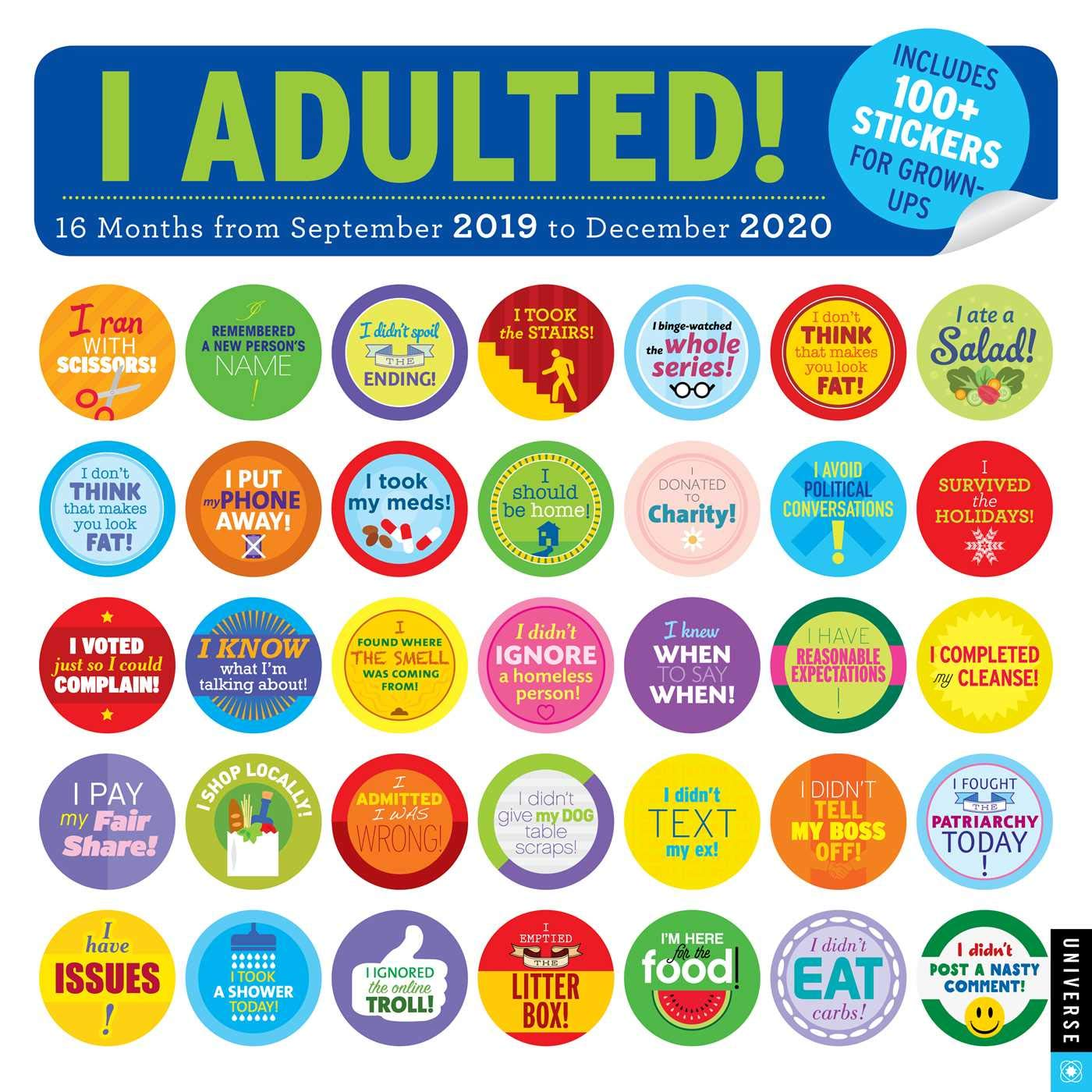 Calendrier Om 2020 16.I Adulted 2019 2020 16 Month Wall Calendar Stickers For