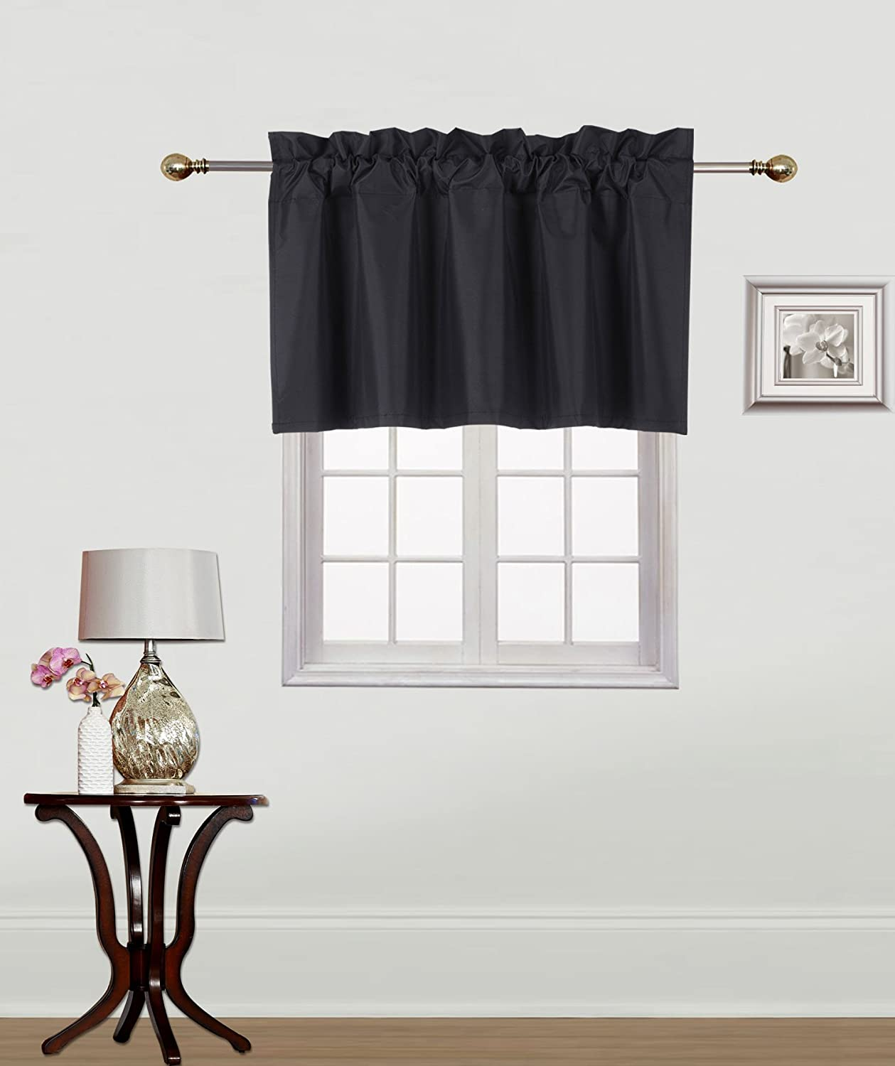 Gorgeous Home Linen (RS9) 1 Small Short Decorative Rod Pocket Foam Lined Blackout Swag Window Curtain Straight Valance for Kitchen, Living Room, Bedroom, Nursery, Basement & Bathroom (Black)