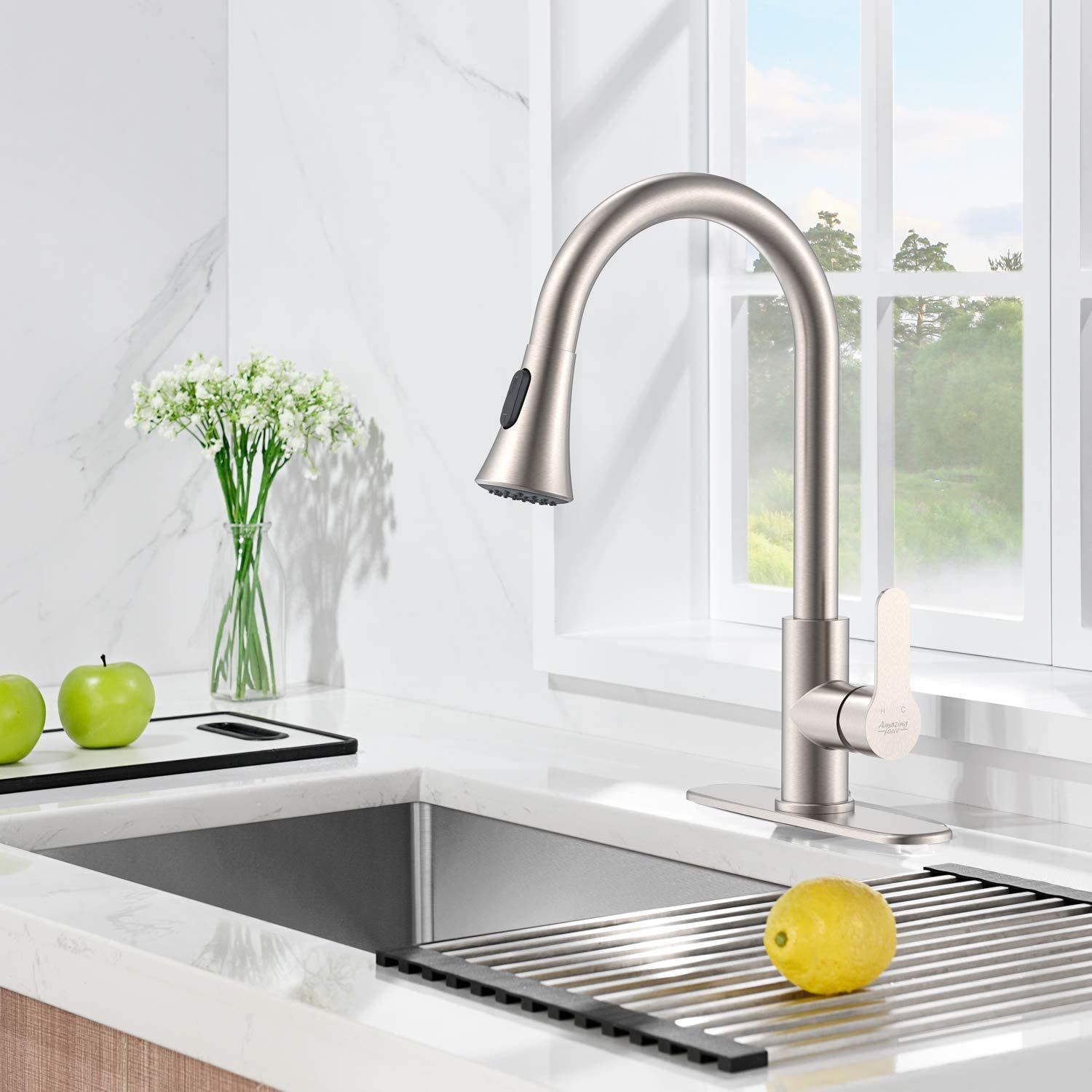 Amazing Force Brushed Nickel Kitchen Faucet With Pull Down Sprayer Kitchen Sink Faucet Single Handle Kitchen Faucet Brushed Nickel Utility Sink Faucet For Laundry Sink Stainless Steel Amazon Com