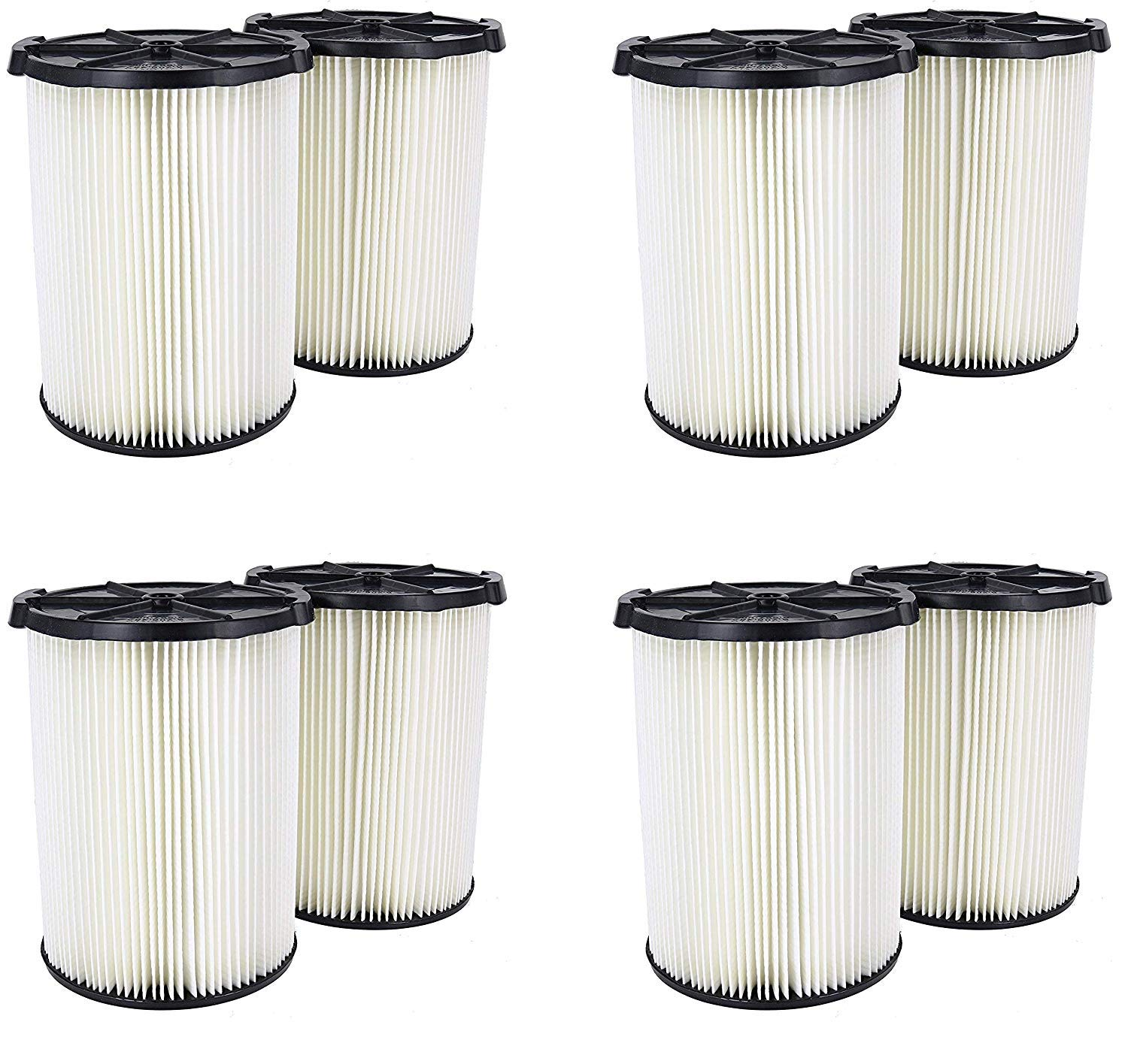 Ridgid VF4200 Genuine Replacement 1-Layer Everyday Dirt Wet/Dry Vac Filter for Ridgid 5-20 Gallon Vacuums (4 X Pack of 2)