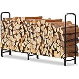 Amagabeli 8 ft Outdoor Fire Wood Log Rack for Fireplace Heavy Duty Firewood Pile Storage Racks for Patio Deck Metal Log…