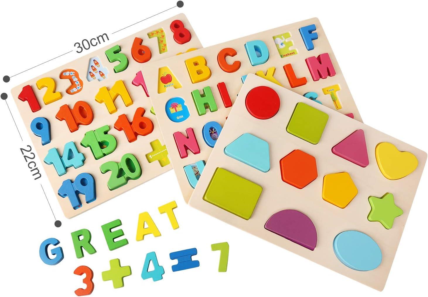 Ballery Puzzle Madera ni/ños Puzzles de Madera N/úmeros Letras Juguete de Madera Puzzle Educaci/ón y Aprendizaje Rompecabezas Juguetes 3 Paquetes