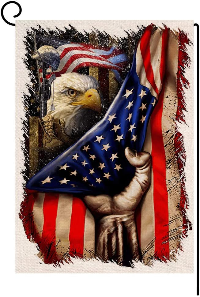 BLKWHT 4th of July Eagle Garden Flag Vertical Double Sided Independence Day Memorial Day Patriotic Burlap Yard Outdoor Decor 12.5 x 18 Inches A2143
