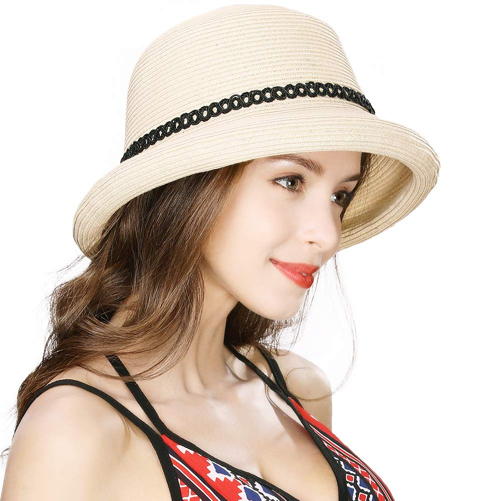Comhats Ladies Straw Sun Hat Women Summer Beach Hats Packable Adjustable Fashion Cloche Fedora Hats Chin Strap