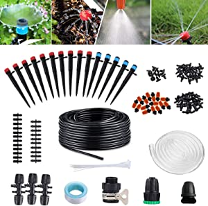Garden Irrigation System 138ft Micro Drip Irrigation Kit Automatic Watering Equipment Tubing Patio Plant Watering Kit Misting Cooling System Adjustable Sprayer&Dripper Garden Greenhouse,Patio,Lawn 42M