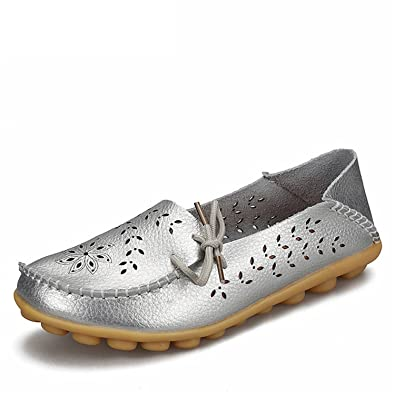 Surprising Day Women's Casual Shoes Genuine Leather Woman Loafers Slip-On Female Flats Moccasins Ladies Driving Shoe Cut-Outs Mother Footwear Silver 10