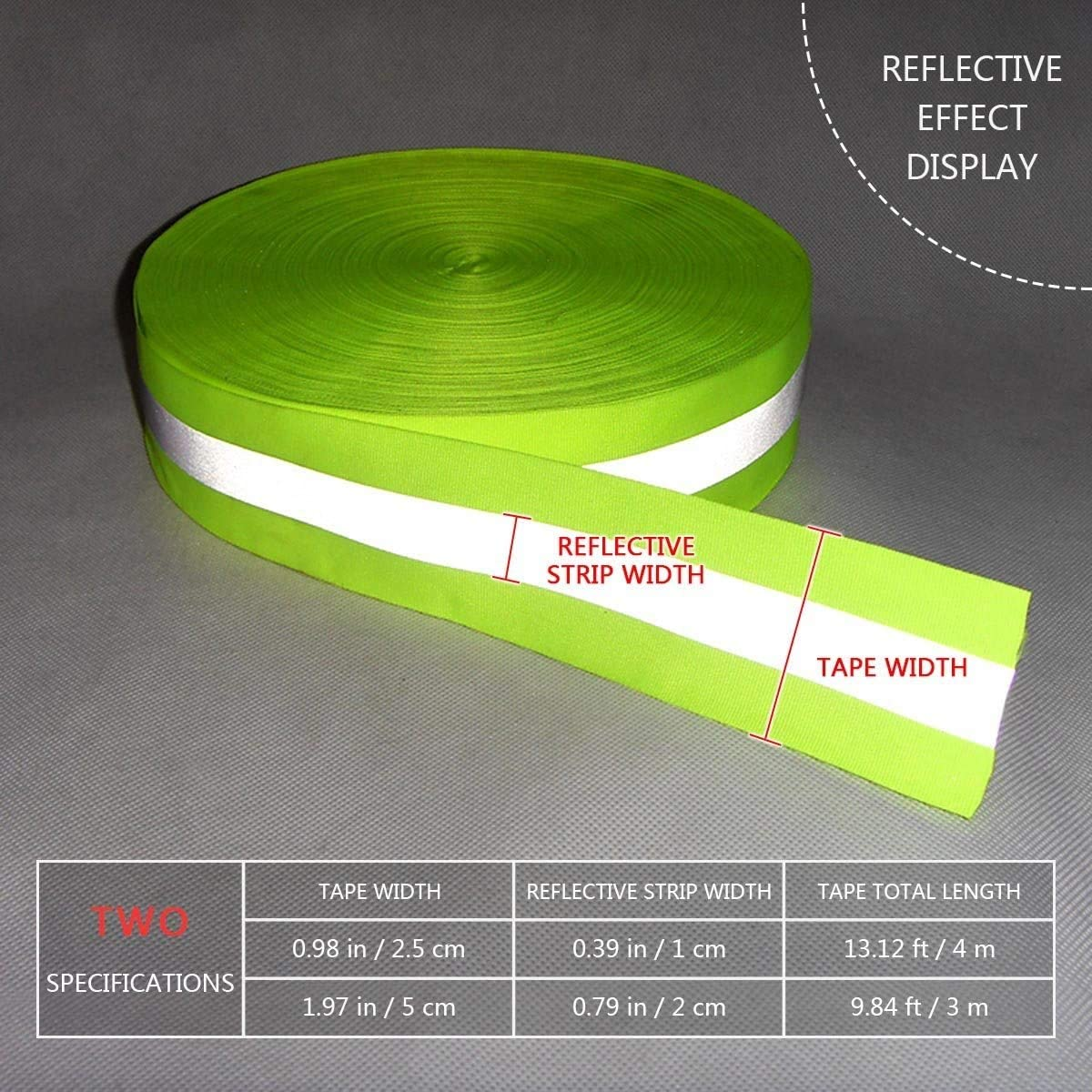 10mm x 1 Meter High Visibility Reflective IRON ON Multi Purpose Safety Tape