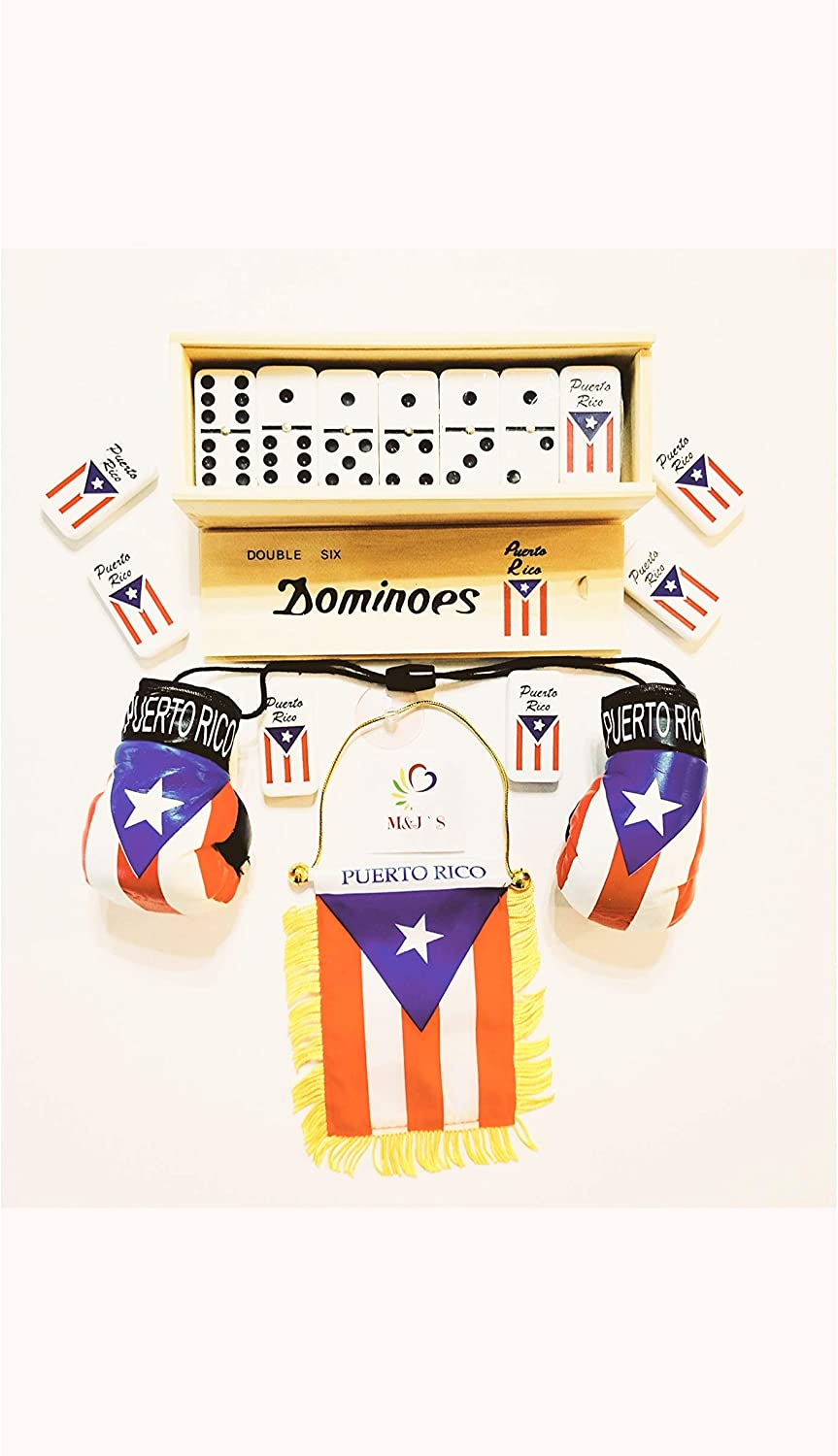 Puerto RICO Double SIX Domino Set Regular Size {NOT Big} with Puerto RICO Mini Flag and Mini Boxing Gloves