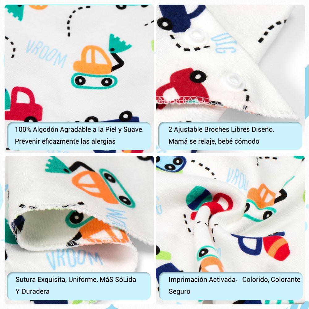 Wonyered 12 pcs Baberos Algodón para Bebé 1 a 36 Meses Niños Niñas Recién Nacido Bufandas Suave Cómodo Diseño de Animales Diferente: Amazon.es: Bebé