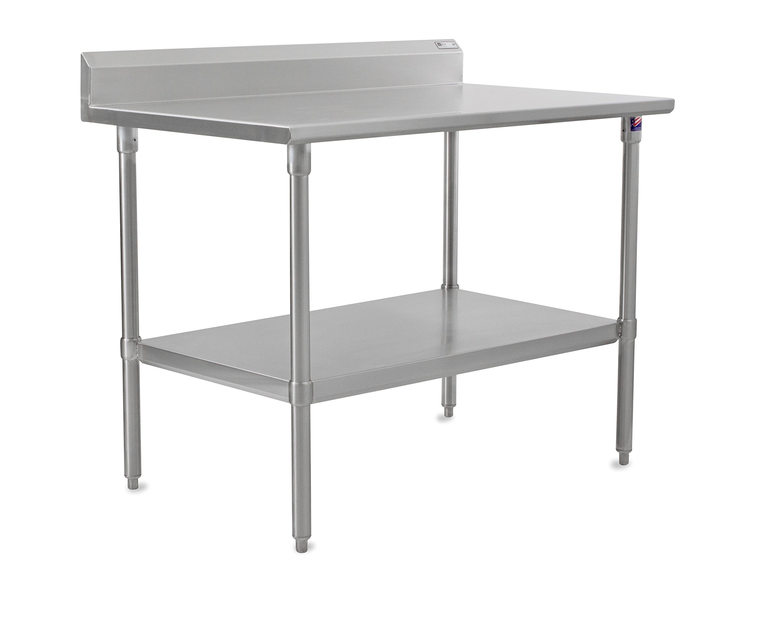 John Boos Stallion ST6R5-3060SSK Stainless Steel 5'' Riser Top Work Table with Adjustable Stainless Steel Lower Shelf and Legs, 5'' Riser Top, 60'' Length x 30'' Width