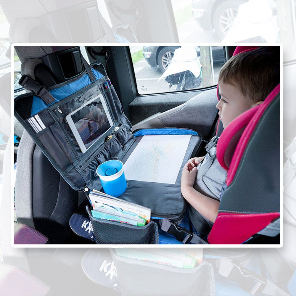 UPGRADED Kids Travel Tray for Eat and Play Toddlers Backseat Organizer iPad /& Tablet Holder 17 Inch by 13 Inch Large Mesh Side Pockets /& Water Bottle Holder