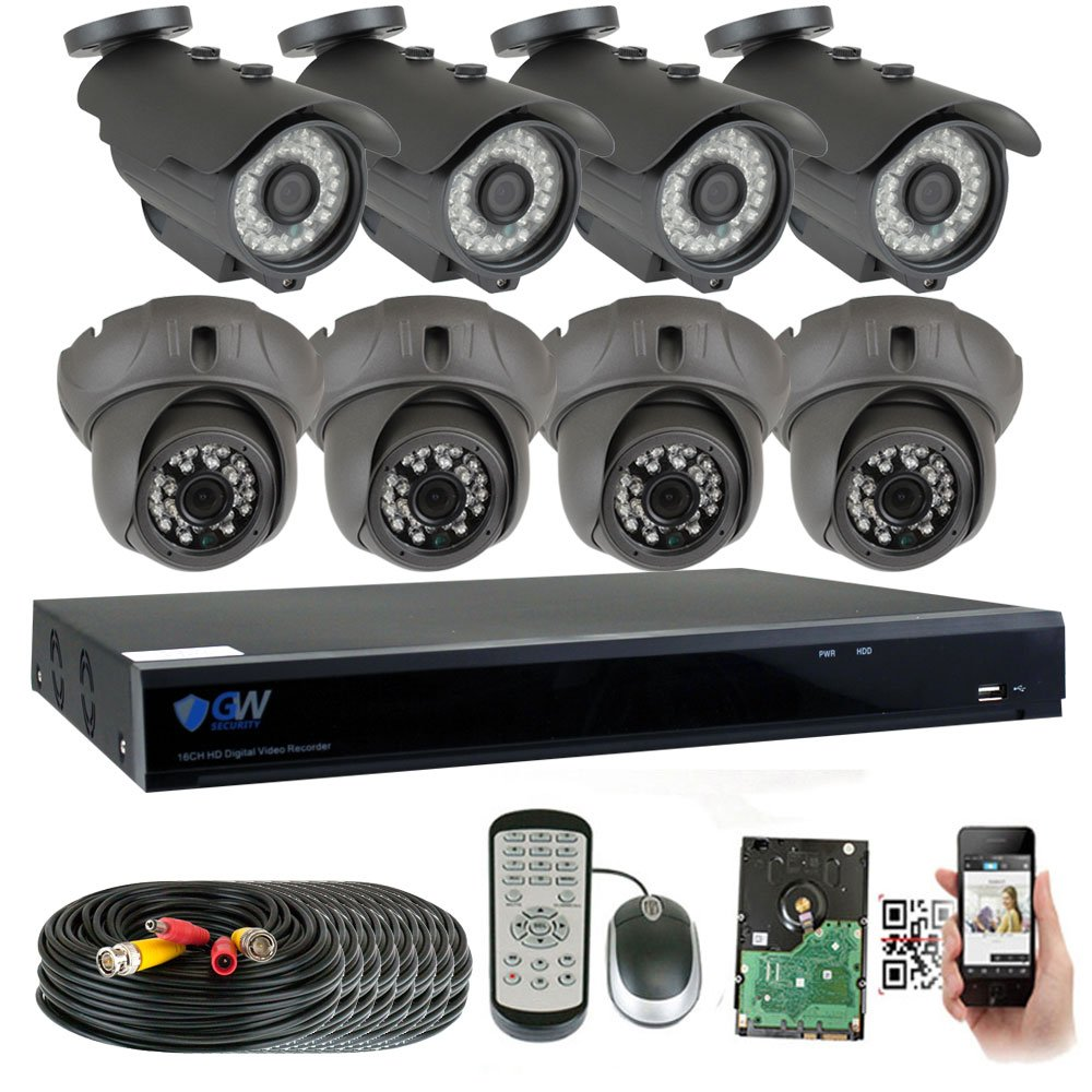 GW Security 8 Channel HD 2592TVL Outdoor Indoor 5MP 1920P CCTV H.265 Video Security Camera System with Pre-Installed 2TB HD, Motion Email Alert, Smartphone PC Easy Remote Access Black