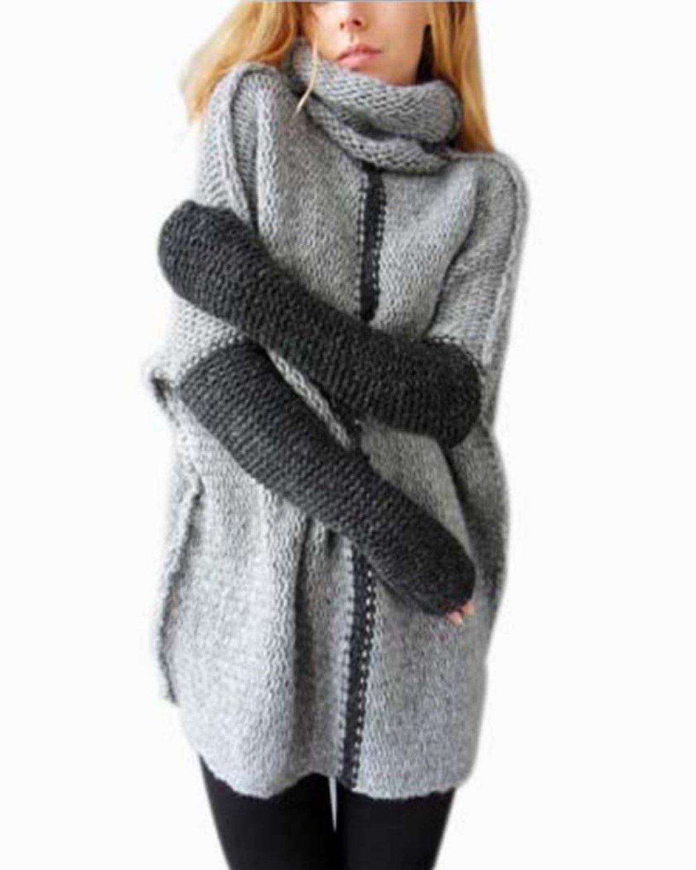 CEASIKERY Women Pullovers Cowl Neck Knit Sweater Top Plus Size