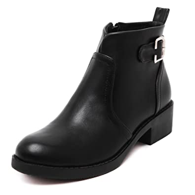Womens Leather Zip Chunky Low Heel Round Toe Buckle Strap Ankle Booties