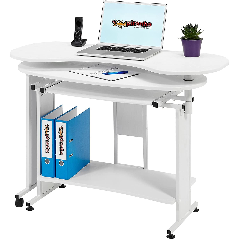 Piranha Ausklappbarer Computertisch Schreibtisch mit Tastaturauszug Tastaturauszug Tastaturauszug weiß PC 3s 001aea