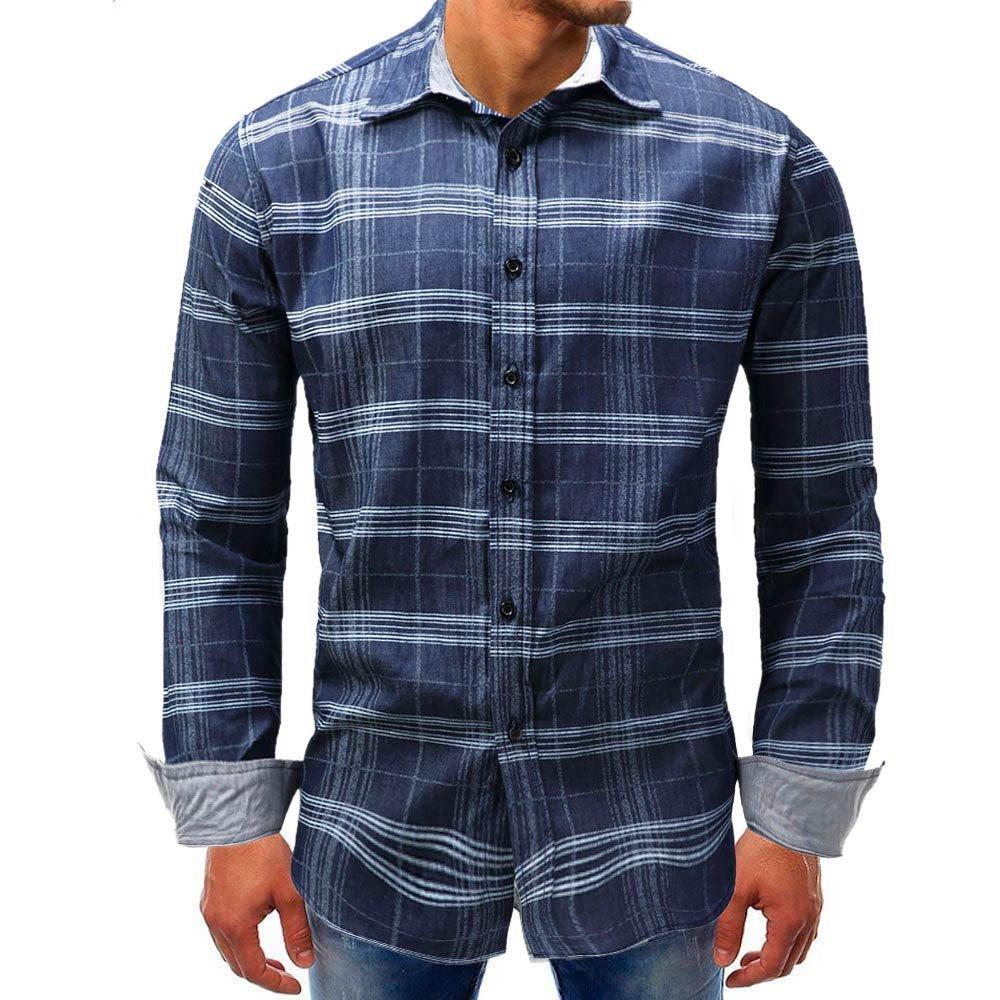 Men Plaid Shirt Casual Fashion Jean Western Denim Top Blouse Button Down Shirt Zulmaliu (Blue, 2XL)