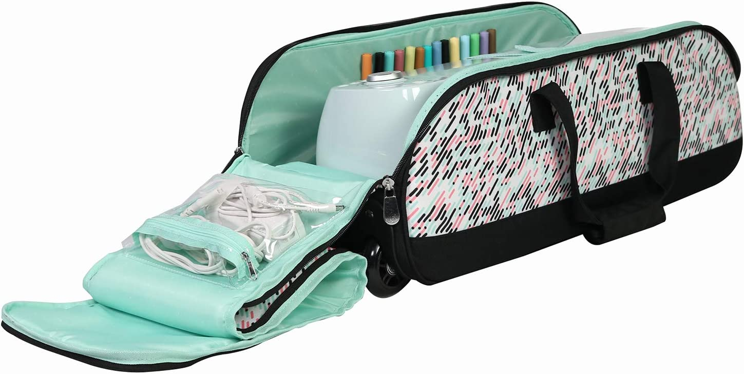 Everything Mary Rolling Craft Tote for Cricut, Brother, & Silhouette Machines, Pill - Machine Carrying Storage Bag for Air, Maker, Explore, & Cameo - Travel Carry Case for Vinyl & Accessories