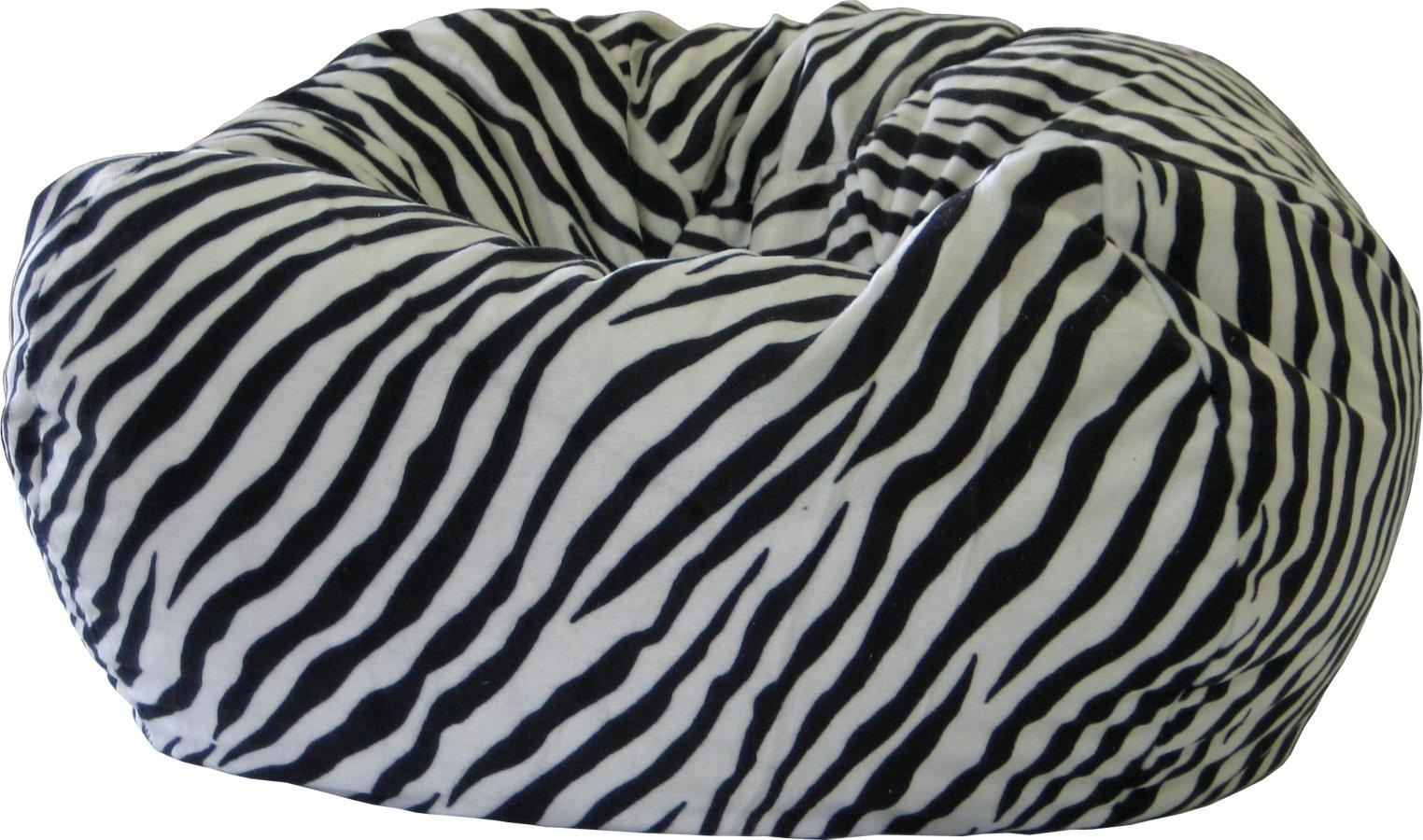 Gold Medal Bean Bags Safari Micro-Fiber Suede Animal Bean Bag, XX-Large, Zebra