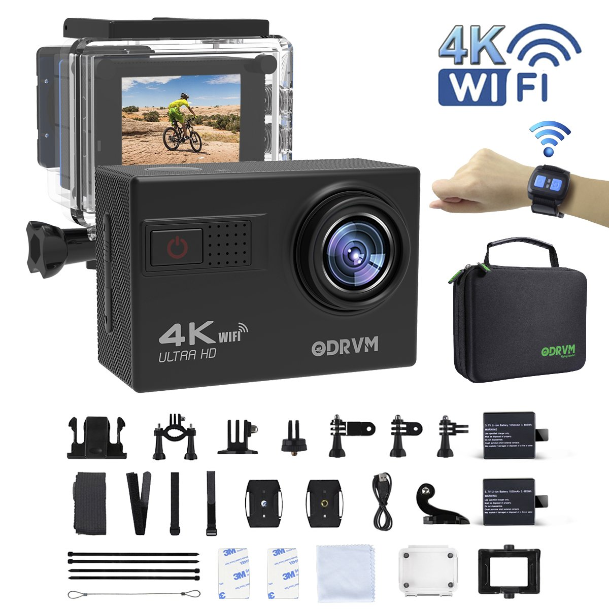 4k Action Camera WiFi with 2.4G Remote Control Underwater Camera Digital Waterproof Sports Camera 1080P/60fps and 70-170 Wide Angle Lens for Motorcycle, Kids,Drone,Helmets,Diving and Water Sports