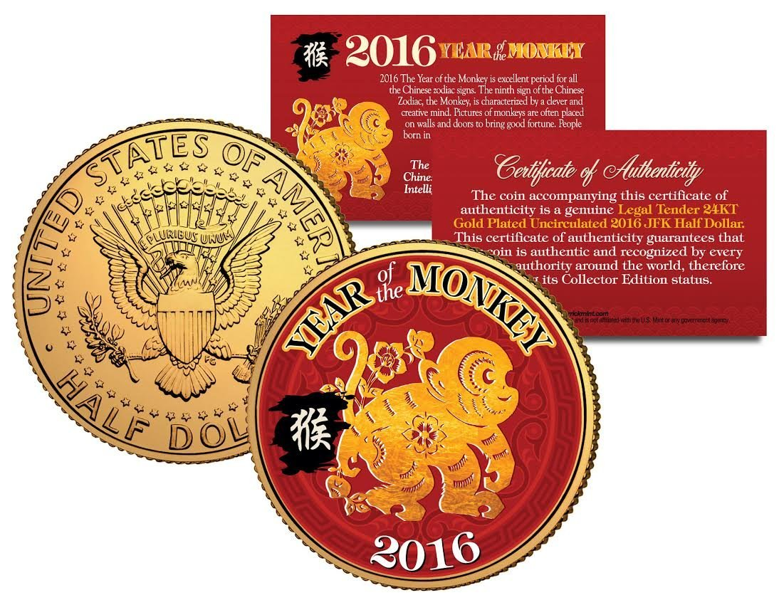 amazoncom 2016 chinese new year year of the monkey 24k gold plated jfk half dollar us coin everything else - Chinese New Year 2016 Zodiac