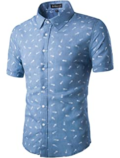 9f7d000a7 uxcell Men Short Sleeves Fishbone Printed Cotton Chambray Button Down  Casual Business Shirt