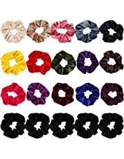 Velvet Scrunchies for Hair, 20Pcs Premium Velvet Hair Scrunchies Elastic Hair Ties for Women and Girls Hair Accessories, includes 5Pcs Black Scrunchies and 15Pcs Other Color Scrunchies