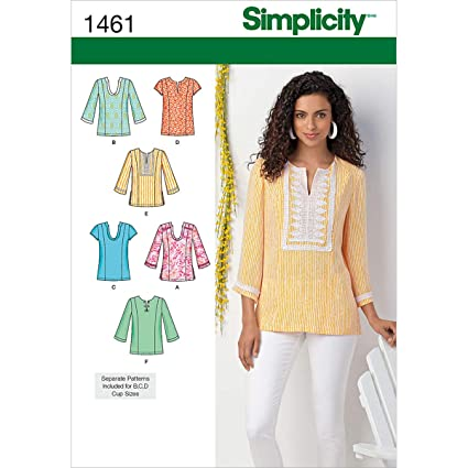 02bd52900c5e6b Amazon.com: Simplicity Pattern 1461 Women's Tunic with Neckline and Sleeve  Variations Plus Size 20W-28W: Arts, Crafts & Sewing