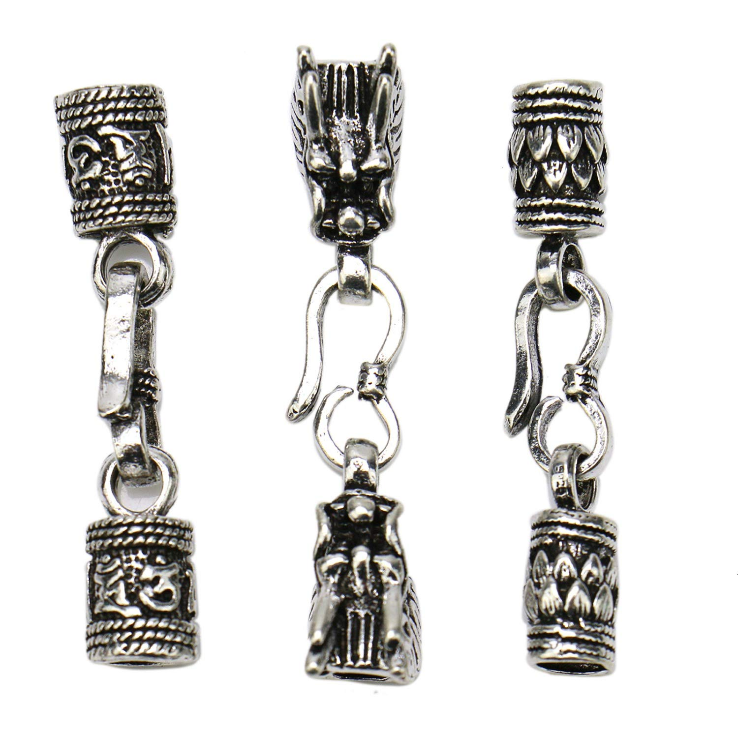 JETEHO 6Pcs Antique Silver Dragon Head End Caps Connector for Round Leather Cord DIY Bracelets Findings