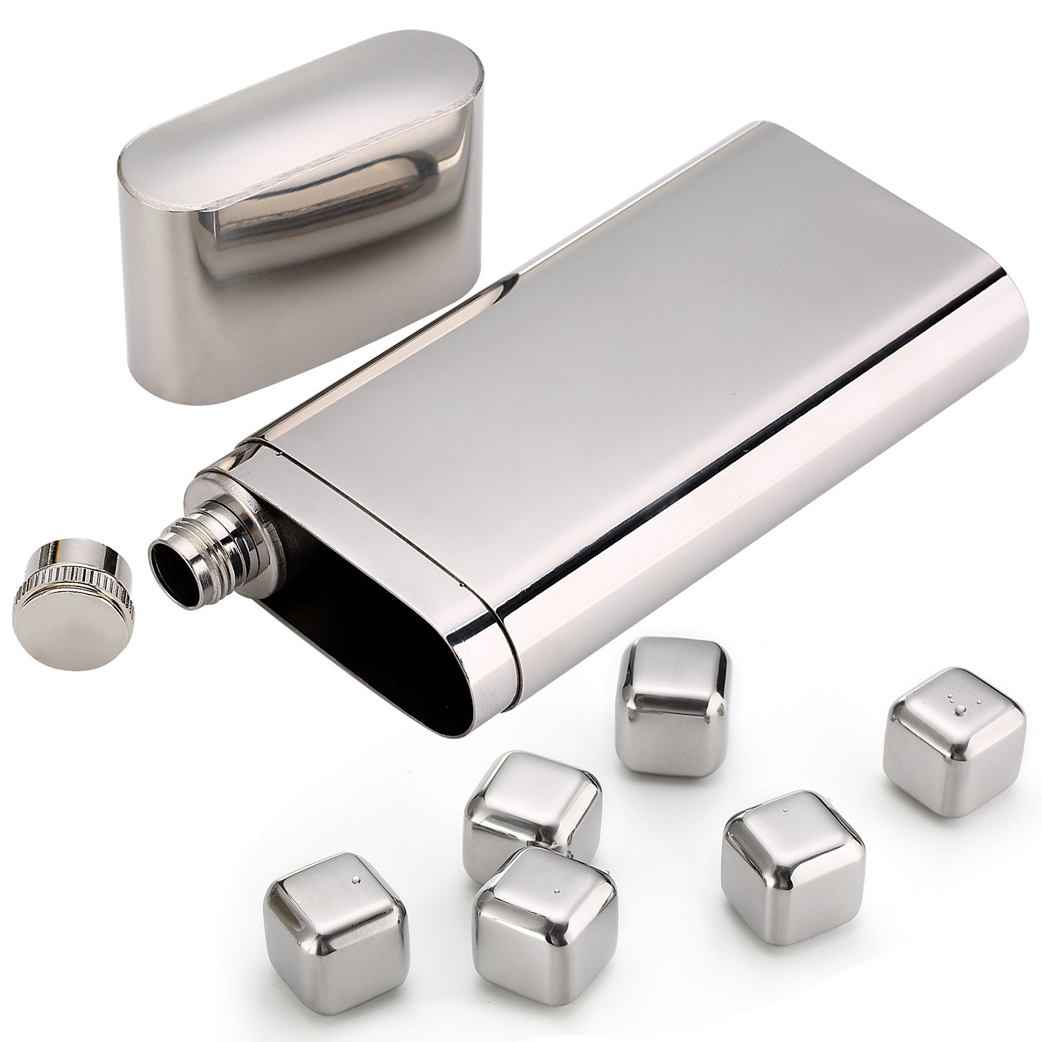 Stainless Steel Chilling Rocks / Stones (8) + Dual Cigar Flask (1) [Gift Set] + Funnel (1) + Tongs (1) [FDA Approved] by YazyCraft (Image #3)