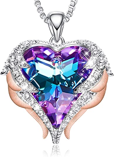 Purple Heart of the Ocean Crystal Pendant Necklace Made with Swarovski Elements