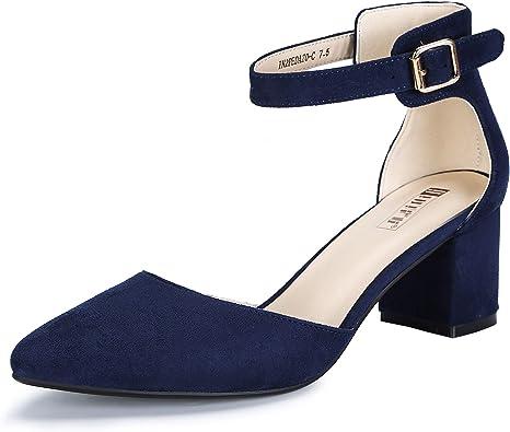 Womens Ankle Strap Low Block Heels Sandals Ladies Closed Toe Court Shoes Pumps