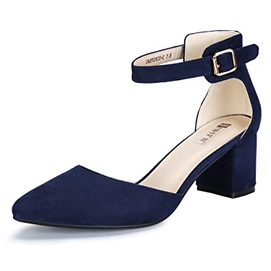 6613841fd37 IDIFU Women s IN2 Pedazo-C Mid Chunky Heels Ankle Strap D Orsay Pumps (