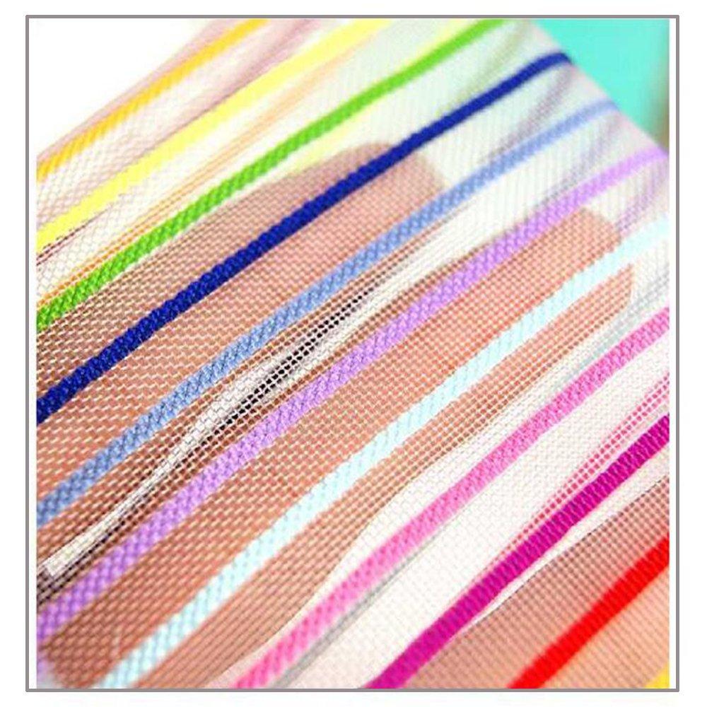 bc506efb8038 Amazon.com : Garrelett Rainbow Striped Nylon Mesh Zipper Cosmetic ...