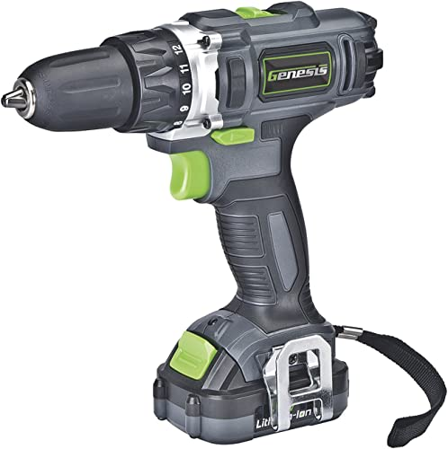 Genesis GLCD122P 12V Lithium-ion Battery-Powered Cordless Variable Speed Drill Driver with 3 8 Chuck, Trigger-Activated LED Light, 12V Battery, Charger and Double-Ended Screwdriver Bit