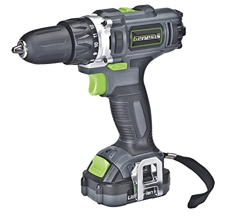 Genesis GLCD122P 12V Lithium-Ion 2-Gear Variable Speed Drill/Driver, Grey,  3/8-inch chuck with Trigger Activated LED light, Battery Charger and