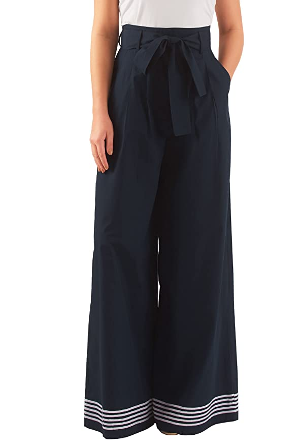 1930s Plus Size Dresses eShakti Womens High waist poplin palazzo pants $55.95 AT vintagedancer.com