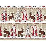 Woodland Santa Claus Reindeer Kraft Christmas Gift Wrap Paper - 16ft Roll