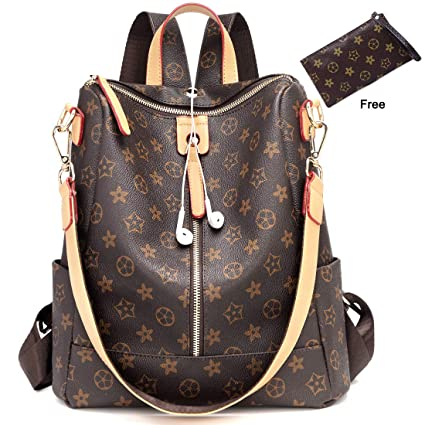 56cd2b6aa775 Amazon.com  Casual Purse Fashion School Leather Backpack Crossbady Shoulder Bag  Mini Backpack for Women   Teenage Girls BLACK BROWN  FLYfreemdom