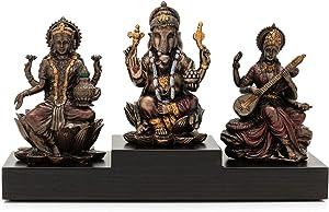 CraftVatika Goddess Laxmi Ganesha Saraswati Idol Murti Lakshmi Ganesh Idols Showpiece Statue for Home Office Success Temple Pooja Room Entrance Decor Diwali Decoration Items