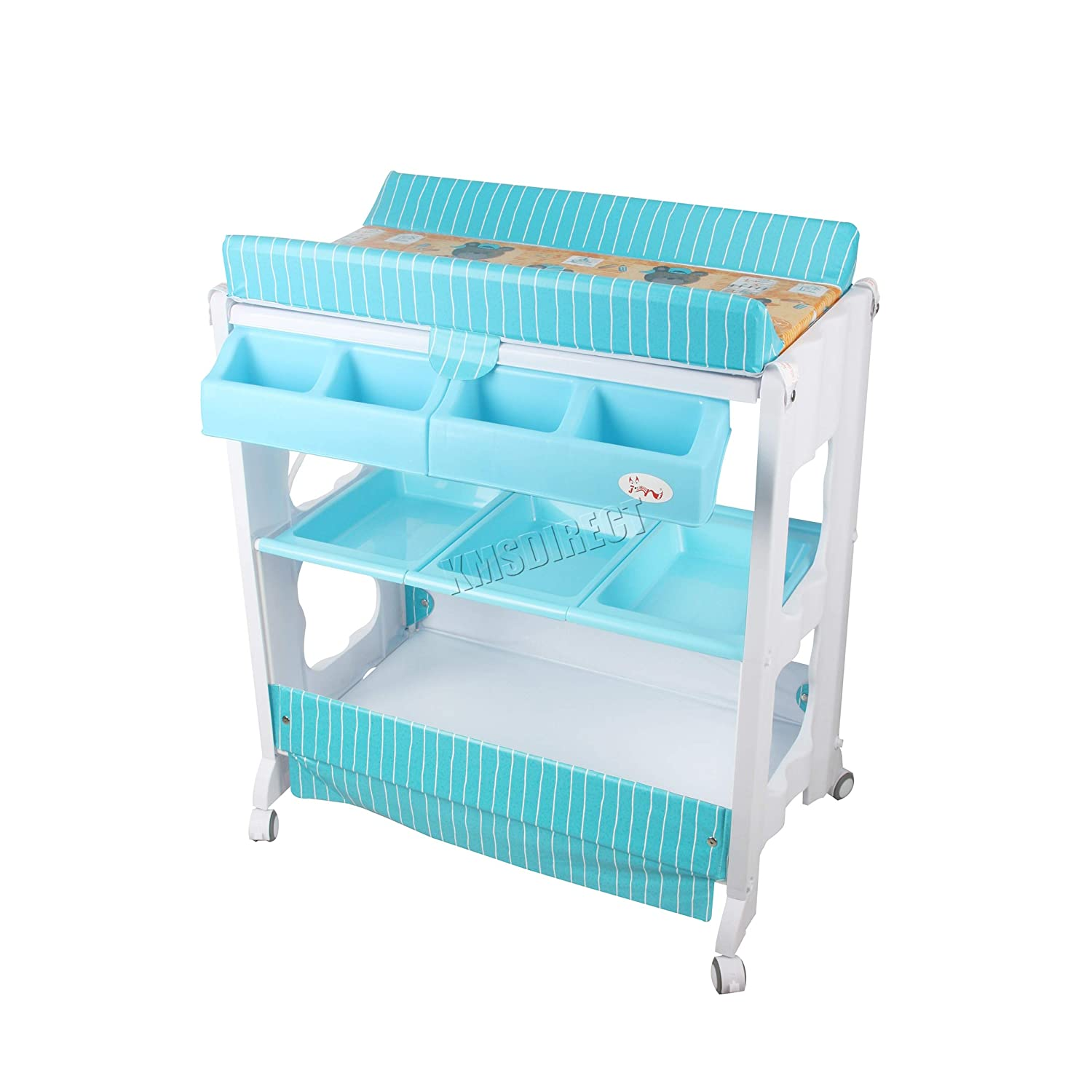 FoxHunter 2 in 1 Baby Bath Changing Dresser Station Table Unit Storage Towel Rail Infant Nursery Trays Furniture BCT02 Blue KMS BCTW01