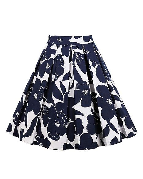 60445adec4 ZAFUL Women Plus Size Skirt Pleated Vintage Skirt Floral Print High Waist  A-line Midi