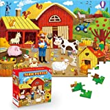Puzzles for Kids Ages 4-8 Barnyard Jigsaw Puzzles 100-pcs for Kids Ages 8-10, Great Animal Floor Puzzles for Kids 3-5